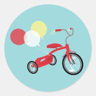 Rote Dreiradgraphik Runder Aufkleber