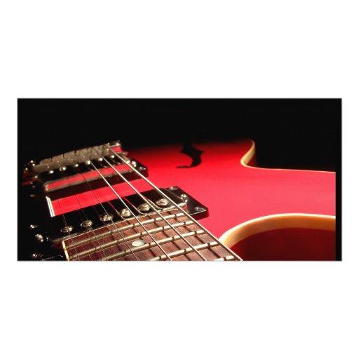 Rote E-Gitarre Photo Karten Vorlage