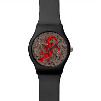 Rote Eidechsen-Collage Armbanduhr