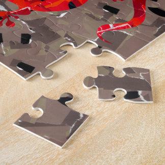 Rote Eidechsen-Collage Puzzle