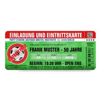 rote Einladung und Eintrittskarte (Fußball-Ticket)