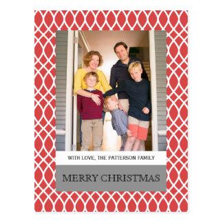 Rote elegante Gitter-Feiertags-Foto-Postkarte Postkarte