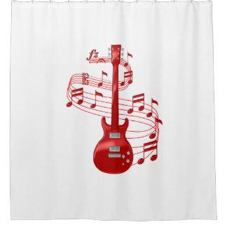 Rote elektrische Gitarre mit Musiknoten Duschvorhang