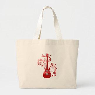 Rote elektrische Gitarre mit Musiknoten Jumbo Stoffbeutel