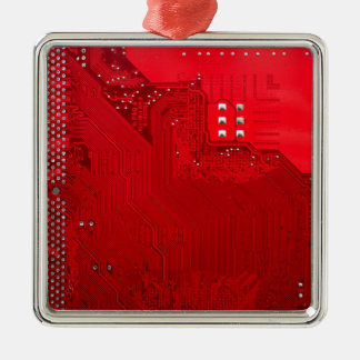 rote elektronische Schaltung board.JPG Quadratisches Silberfarbenes Ornament