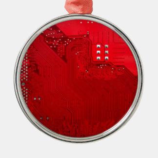 rote elektronische Schaltung board.JPG Rundes Silberfarbenes Ornament