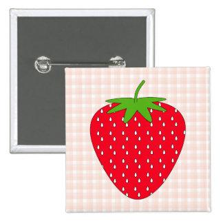 Rote Erdbeere auf Gingham-Kontrolle Quadratischer Button 5,1 Cm