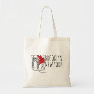 Rote Feiertags-Tasche Brooklyn-Brücken-New York Tragetasche