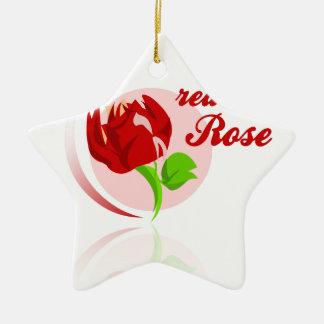 Rote Feind-Blume Keramik Ornament