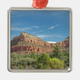 Rote Felsen in Sedona Quadratisches Silberfarbenes Ornament