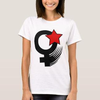 Rote feministische Aktions-Art auf weißem Baby - T-Shirt