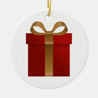 Rote Feriengeschenk-Weihnachtsverzierung Keramik Ornament