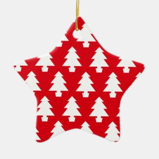 Rote festliche Bäume Keramik Ornament