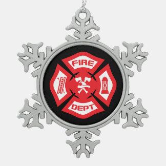 Rote Feuerwehrmann-Weihnachtsverzierung Schneeflocken Zinn-Ornament