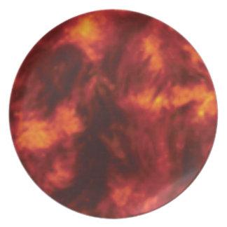 rote Flamme der Hitze Teller