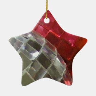 Rote Flitterdetail-Sternverzierung Keramik Ornament