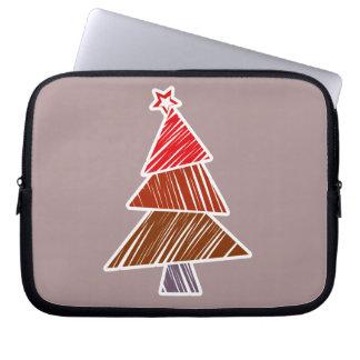 Rote flüchtige Weihnachtsbaum-Hülse Laptop Sleeve