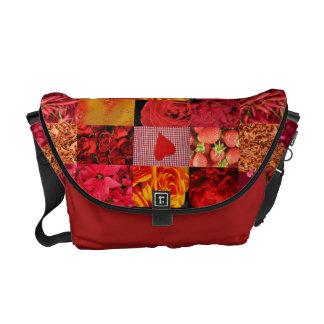 Rote Foto-Collagen-Tasche Kurier Tasche