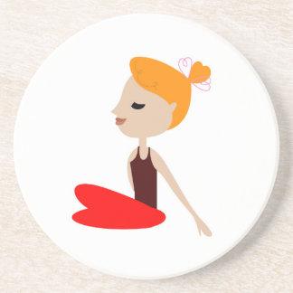 Rote Frau des Yoga auf Weiß Sandstein Untersetzer