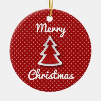 Rote fröhliche Weihnachtsbaum-Kreis-Verzierung Rundes Keramik Ornament