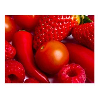 Rote Frucht/Gemüse-Postkarte