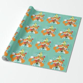 Rote Füchse und Feiertags-Baum-Packpapier Geschenkpapier
