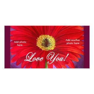 Rote Gänseblümchen-Blumen-Malerei - multi Individuelle Photo Karten