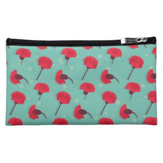 Rote Gartennelken-mittlere kosmetische Tasche