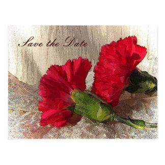 Rote Gartennelken Save the Date Postkarten