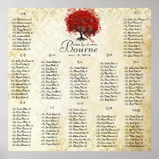 Rote Gäste des Herz-Baums 100 bis 150 - Poster