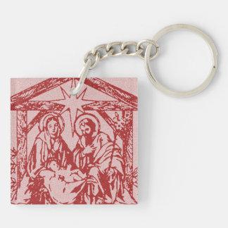 Rote Geburt Christi Beidseitiger Quadratischer Acryl Schlüsselanhänger