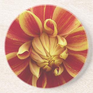 Rote gelbe Dahlie-Blume Sandstein Untersetzer
