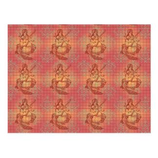 rote gelbe hindische Göttin Saraswati Klugheit Postkarten