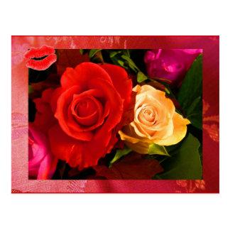 Rote gelbe Postkarte der Rosen-II