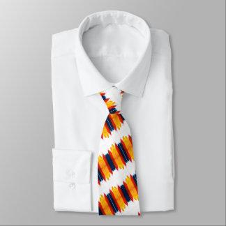 Rote gelbe und blaue Streifen auf Weiß Personalisierte Krawatte