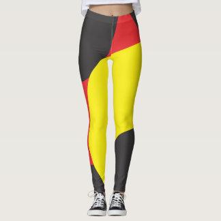 Rote gelbe und schwarze Mustergamaschen Leggings