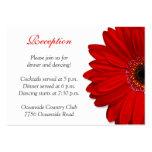Rote Gerber Gänseblümchen-Hochzeits-Empfangs-Karte Visitenkarte
