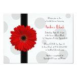 Rote Gerbera-Polka-Punkt-Brautparty-Einladung
