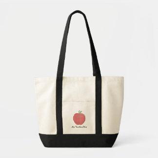Rote Gingham-Apple-Lehrer-Taschen-Tasche Impulse Stoffbeutel