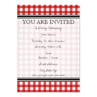 Rote Gingham-Einladung 12,7 X 17,8 Cm Einladungskarte