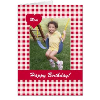 Rote Gingham-Geburtstags-Foto-Karte Grußkarte
