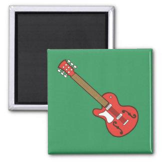 Rote Gitarre Quadratischer Magnet