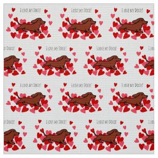 Rote glatte Dackel-laufendes Herz-Gewebe Stoff