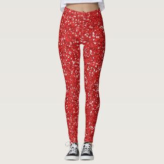 rote Glitterweihnachtszeit Leggings