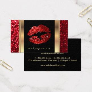 Rote Glitzer-Lippen und elegantes Gold Visitenkarte