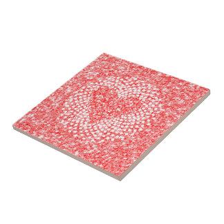 Rote Glitzer-u. Valentines-Herz-Zusammensetzung Keramikfliese