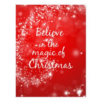 Rote Glitzern mit Weihnachtsmagischem Zitat Postkarte