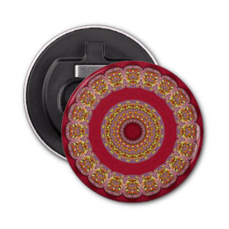 Rote Goldgelb-Rosetten Mandala Runder Flaschenöffner