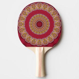 Rote Goldgelb-Rosetten Mandala Tischtennis Schläger