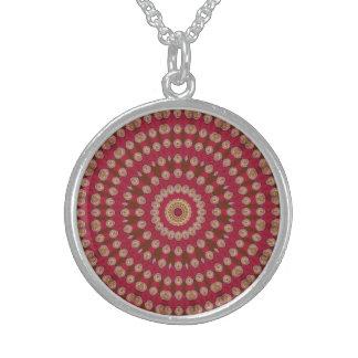 Rote Goldgelb-Stern-Mandala Sterling Silberkette